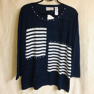 Alfred Dunner Navy Embellished Sweater. NWT